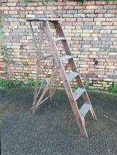 Vintage 6 tread Jones Patent wooden step ladders with working platform