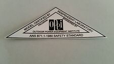 Reproduction 1980 OPEI chrome safety standards adhesive decal, lawn-boy, toro.