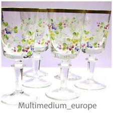 6 Trinkgläser Rot Wein gläser Emaille gemalt Blumen Goldrand Glas Antik Stil