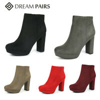DREAM PAIRS Women Suede High Chuny Heel Side Zip Slip On Ankle Boots