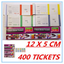 400 RAFFLE TICKETS - CHECK BOOK TICKETS COLORFUL (1-100) - BUSINESS PARTY