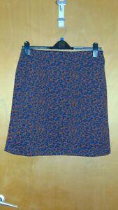 "M&S A-Line Mini Skirt Animal Print Pattern Pull On Stretch 14 L17.5"" Cognac BNWT"