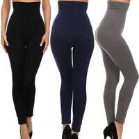 Damen hohe Taille Slim Tone Leggings Mieder Taillenformer Bauchweg Samt Hosen