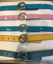Nwt New Gucci girls boys Gg buckle belt S M L bluegreen, pink or yellow 258395