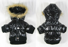 Small dog winter jacket, warm puffer coat, faux fur trimmed hoodie, dog apparel