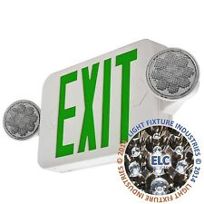 LED Green Exit Sign Emergency Light - Hi Output Compact Combo UL924 COMBOGJR2