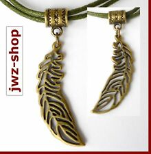 Kette Baumwolle olivegrün khaki mit Anhänger alt- gold bronze > Feder 3,6 cm