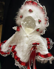 DREAM GIRLS ROMANY WHITE RED  ROSES FRILLY HOODED CAPE ALL SIZES AVAILABLE