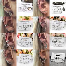 7pcs Women Cuff Cartilage Wrap Clip on Studs Earring SilverFilled  Hoops Ear #