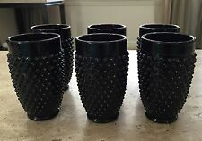 6 LE Smith Amethyst Black Milk Glass Hobnail Pattern Drinking Glass Tumblers