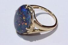 Solid 14 k Yellow Gold Fire Opal Ring Size 5.25 marked JC Thailand