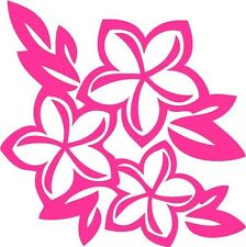 "Plumeria Flower Hawaii Decal Sticker Car Truck Window- 6"" Wide White Color"