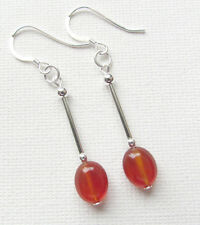 Carnelian Gemstone 925 Sterling Silver Drop/Dangle PIERCED Earrings Jellybean