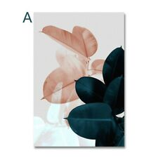 Nordic Style Modern Abstract Pink Flowers Green Plants Poster Canvas Painting