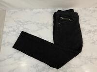 Kut From The Kloth Skinny Jeans Black Womens 4 Stretch Faded Zipper Pocket T