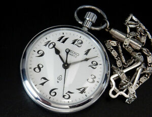 Seiko Quartz Japan Railway 1983 Vintage 50mm Pocket Watch 7550 reloj uhr montre