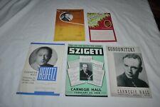 5 -1930`s CARNEGIE HALL Programs SZIGETI GORODNITZKI HEIFETZ JAROFF ZIMBALIST