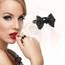 Black Bow Ring Womens Crystal Adjustable Costume Jewellery Fashion Kitsch