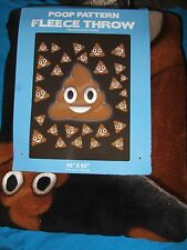 "Happy Smiley Poop Emoji Emoticon Poo Pattern Plush Fleece Throw Blanket 45""X60"""