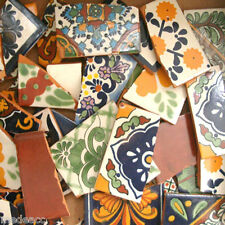 Pounds of Broken Talavera Mexican Ceramic Tile in Mixed Decorative Designs #002