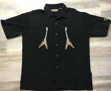 3569c8d3 HARD ROCK CAFE Orlando DRAGONFLY Flaming Guitar Mens Shirt Black Button up  LARGE