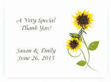 50 Personalized Sunflower Bridal Wedding Thank You Note Cards + 50 Envelopes