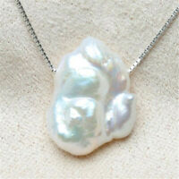 Fashion White petals Baroque Pearl Pendant Necklace natural Mesmerizing REAL