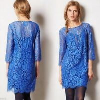 HD in Paris Anthropologie | Blue Lace Sheath Cocktail Dress Size M - 3/4 Sleeve