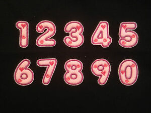 Embroidered Pink Numbers Iron on or sew