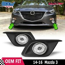 Fits 14-16 Mazda 3 Clear Lens PAIR Bumper Fog Light Lamps+Wiring+Switch Kit DOT