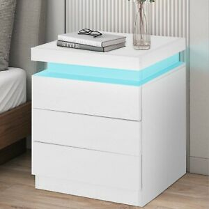 Bedside Tables 2/3 Drawers RGB LED Bedroom Cabinet Nightstand Gloss New