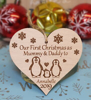 PERSONALISED TREE DECORATION BAUBLE PENGUIN 1ST CHRISTMAS AS MUMMY & DADDY XMAS