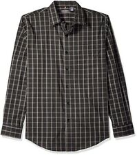 Van Heusen Men's Traveler Stretch Long Sleeve Button Down Black Plaid Shirt, 3XL