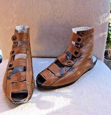 RENATO ANGI Venezia Sz 6.5 Victorian Look Snap Up Ankle Kid Leather Sandals FAB!
