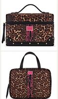 2 Pc Victoria's Secret Hanging Travel Case And Train Makeup Cosmetic Bag Leopard