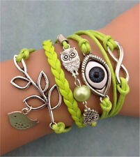 Infinity Owl Pearl Eyes leaves Friendship Leather Charm Bracelet Plated Silver