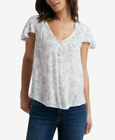 Lucky Brand Womens Short Sleeve Blouse White TOP SIZE L Smocked Flutter-Sleeve