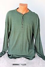 BUGLE BOY (M) Henley Shirt Stretch Pullover Green Casual Long Sleeve