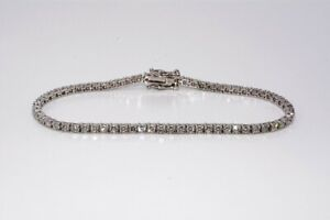 $8,000 3.30CT NATURAL ROUND CUT DIAMOND TENNIS BRACELET 14K WHITE GOLD