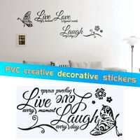 Live Laugh Love Quotes Butterfly Wall Stickers Art Room Decal Home Room Decor CN