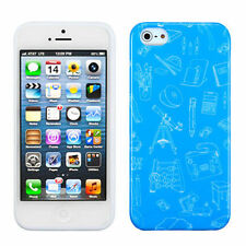 Apple iPhone 5 5S SE TPU CANDY Gel Flexi Skin Case Phone Cover Blue School Life