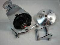 SB Chevy SBC Chrome Saginaw Power Steering Pump Kit W/ Bracket Pump & Pulley