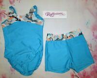 NEW Leotard Shorts Set Size 4-6 XS SC Child Gymnastics Dance Blue Reflectionz
