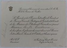 1920's DECLINED FRANCE DINNER INVITATION                  (INV13212)