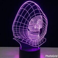 LED 3D illuminato SKULL Illusion LUCE LAMPADA DA TAVOLO MICRO USB NOTTE 7 variazione di colore