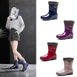 Women Winter Short Ankle Fur Lined Warm Waterproof Rain Boots Lady Outdoor Shoes