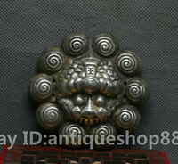 China Ancient Miao Silver Fengshui 12 Zodiac Year Tiger Beast Auspicious Statue