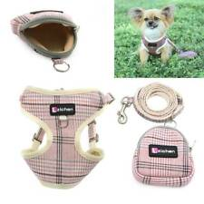 Puppy Small Dog Cat Harness and Walking Leads Set Pet Plaid Vest with Treat Bag
