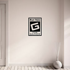 Rated G for Gamer Gaming Vinyl Wall Art Sticker Decal Teenagers Bedroom