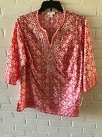 New Charter Club Woman's Beaded Tunic Top Coral Breeze  Plus Sizes  L3